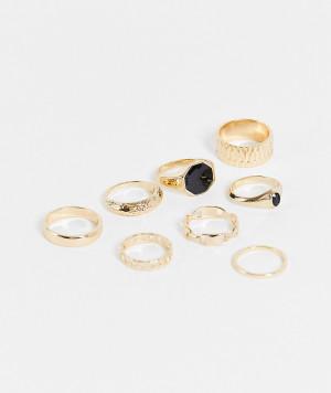 Набор из 8 золотистых колец в виде цепочек и с отделкой черными камнями ASOS DESIGN-Золотистый