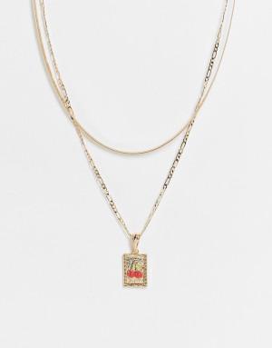 Золотистое ярусное ожерелье с подвеской-ярлычком с вишенками ASOS DESIGN-Золотистый