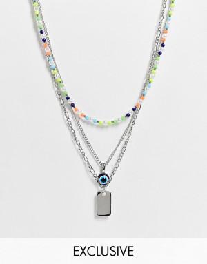 Многоярусное серебристое ожерелье с цветными бусинами и подвесками в форме жетона и глаза Reclaimed Vintage Inspired-Серебряный