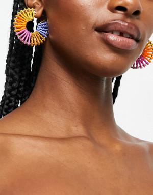 Разноцветные серьги-кольца с бисером Pieces-Разноцветный