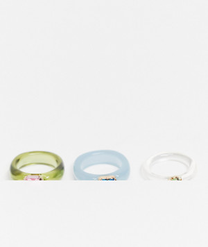Набор из 3 колец из смешанного пластика с цветными кристаллами ASOS DESIGN-Многоцветный