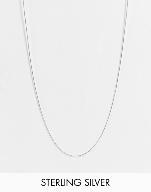 Серебристое тонкое ожерелье из стерлингового серебра с плоской гладкой цепочкой ASOS DESIGN-Серебряный